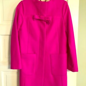 J Crew bright pink wool cashmere coat